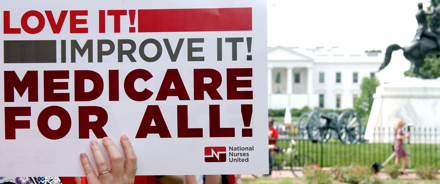 Registered nurses march from the White House to the US Chamber of Commerce calling for Medicare for All Americans